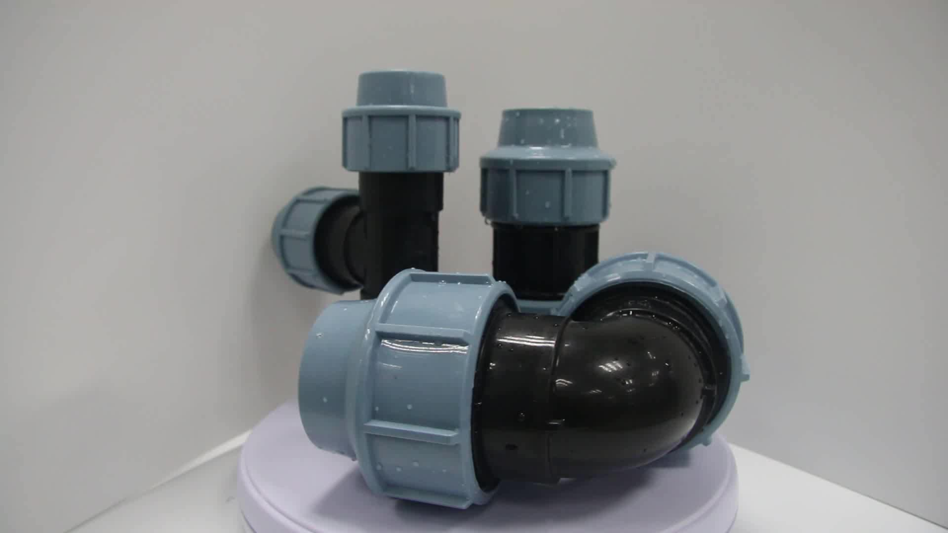 PP/PE PN 16/10 rubber/brass compression pipe fitting with reinforced ring for hdpe plumbing material plastic irrigation