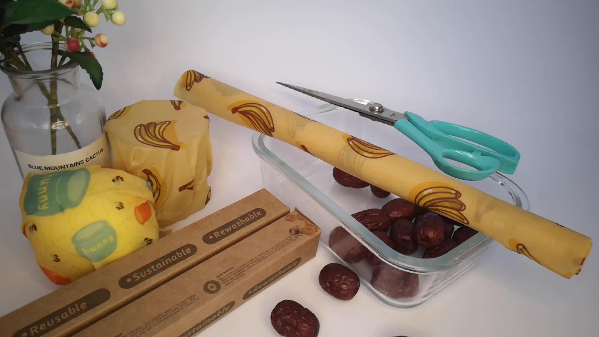 Balmumu gıda sarar seti yeniden sıfır atık çevre dostu sürdürülebilir mühür aperatif sarar