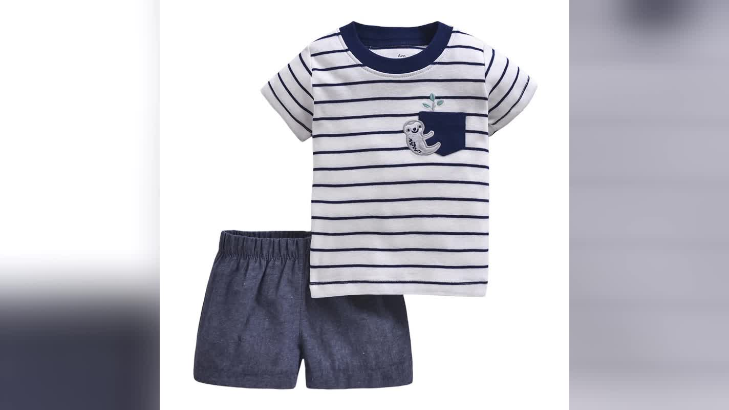 공장 가격 아기 의류 세트 코튼 현대 귀여운 신생아 아기 옷 아기 소년