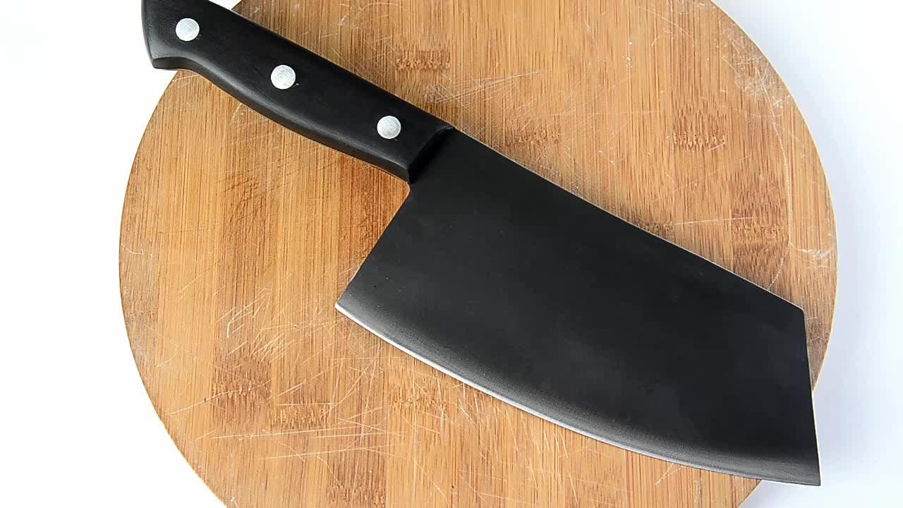 Baru Hitam Pisau Dapur Stainless Steel Full Tang Mengiris Sayuran Cutter Pembantaian Serbia 7 Inch Meat Cleaver Knife