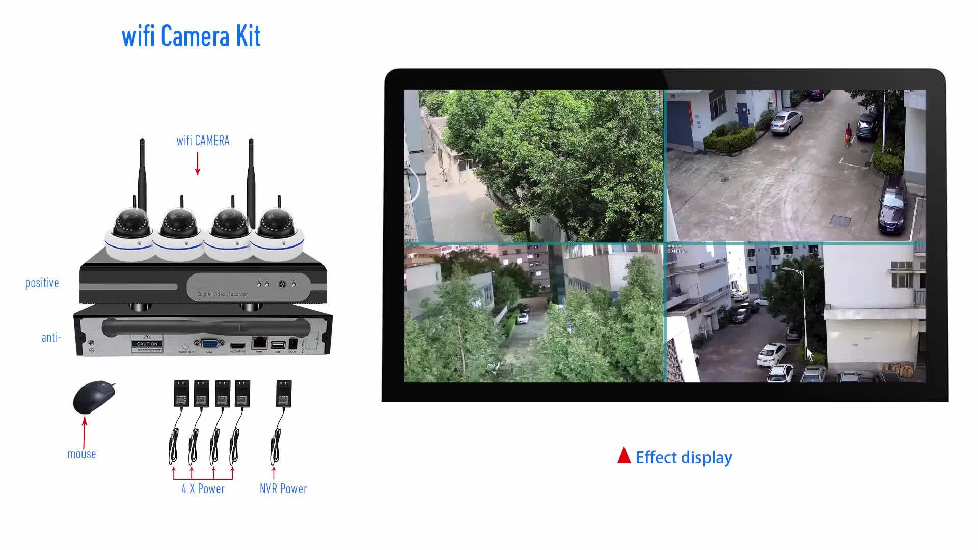 XONZ 4 channel wifi nvr kit, 4ch wifi nvr kits cctv kits