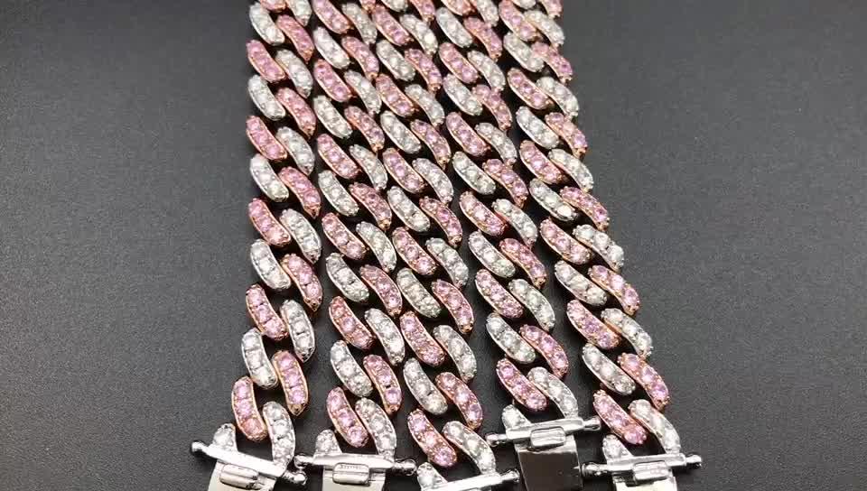 Beiyan bijoux 2020 urbain populaire mode femmes rose diamant cubain lien chaîne bracelet