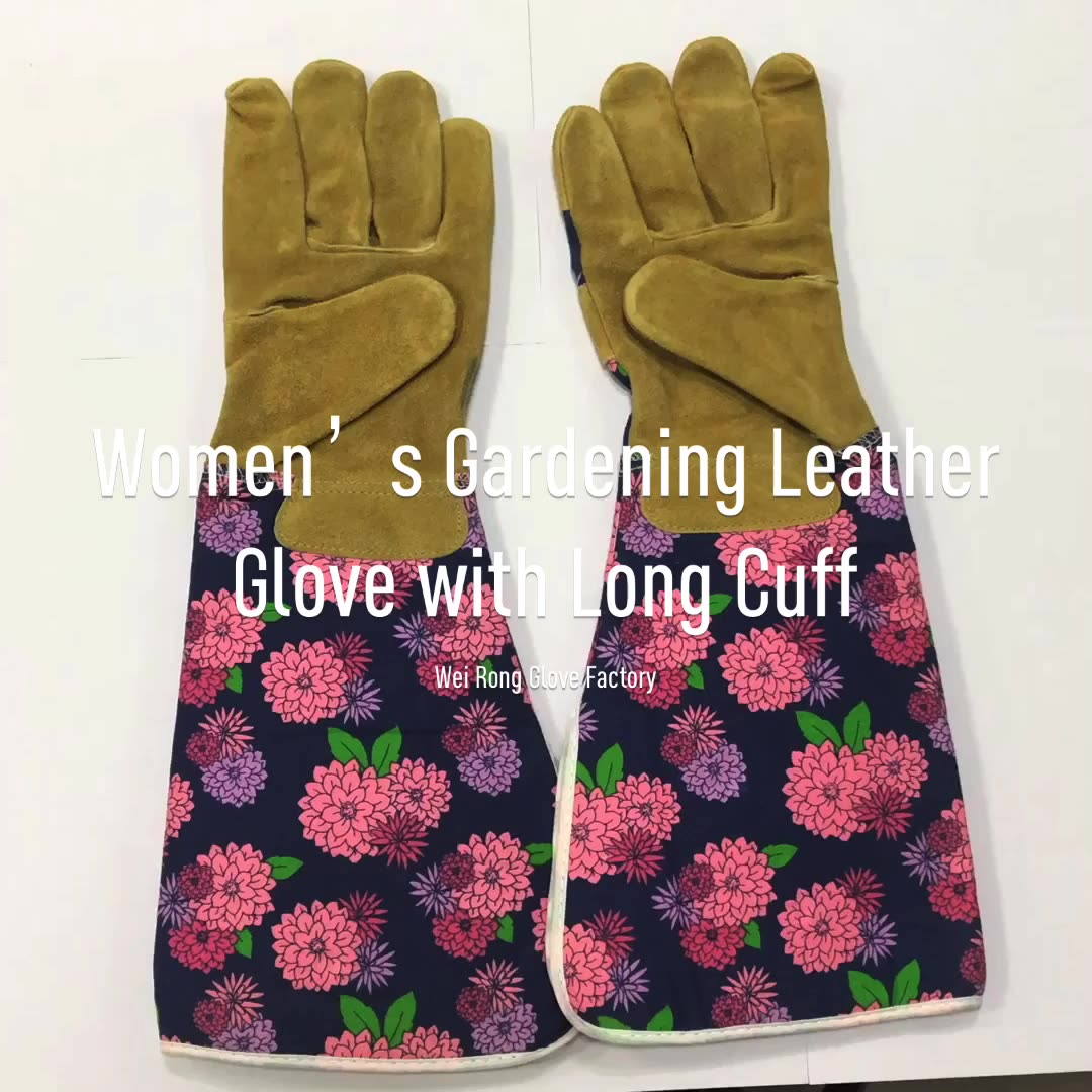 New design long cuff pigskin leather print hand protection garden gloves manufacturers