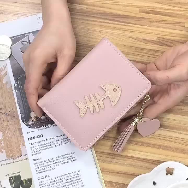 New wallet lady short  fashion fishbone wallet Korean version tassel zipper schoolgirl  wallet