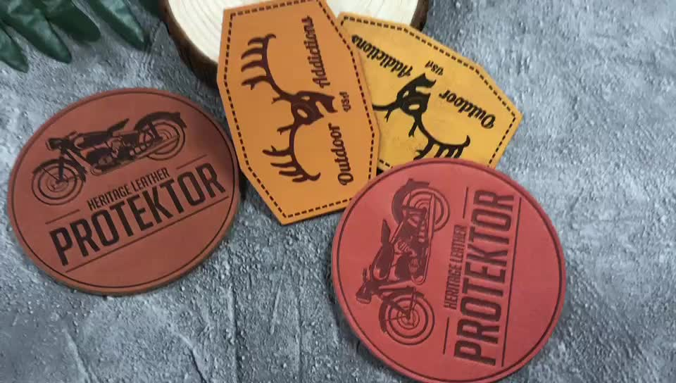 Custom leather tags patch fake leather embosser for pants