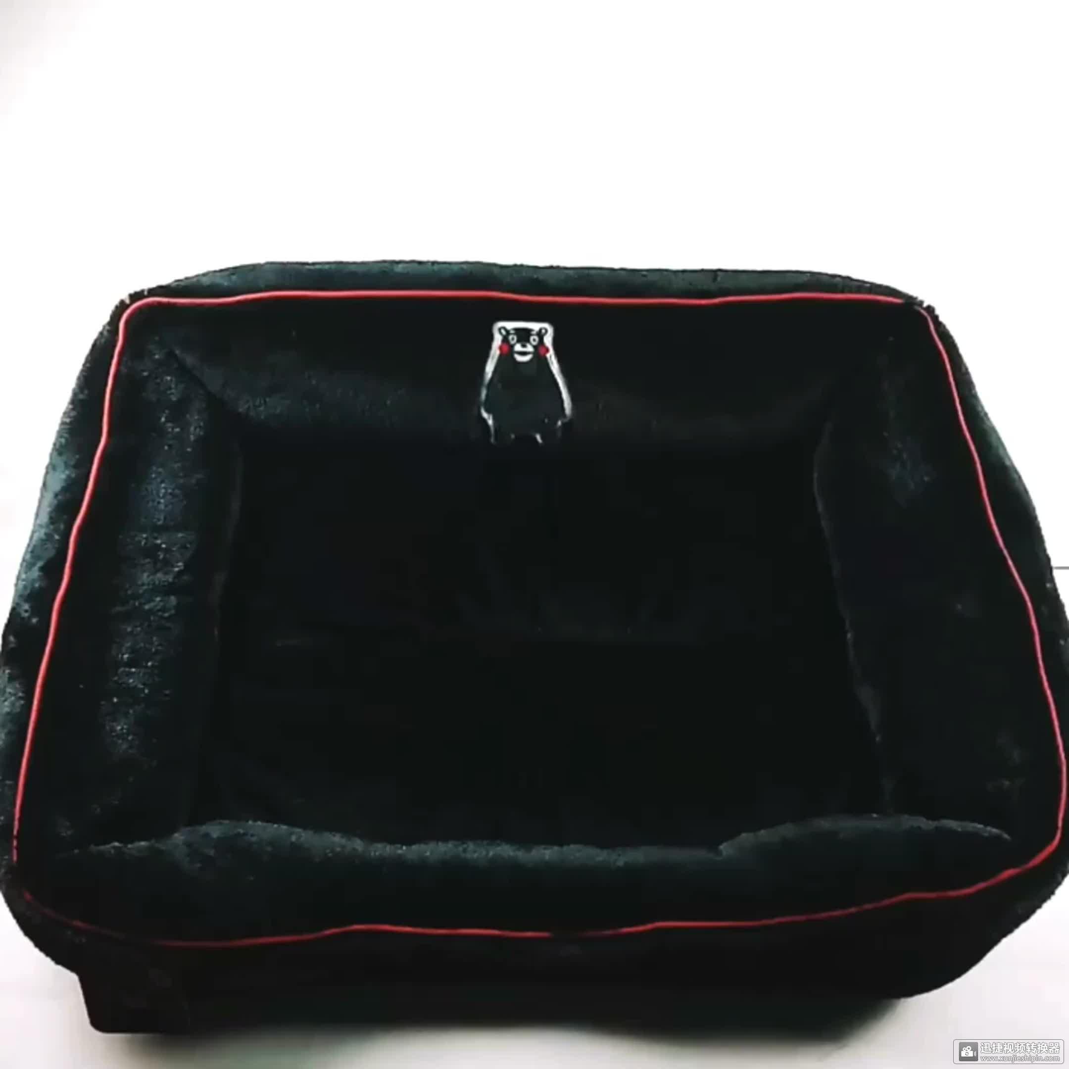 LUVP + K-KUMAMON Fabriek Wasbare Groothandel Luxe Zachte Zwarte Hond Huisdier Bed Vierkante Bed Kat Bed S