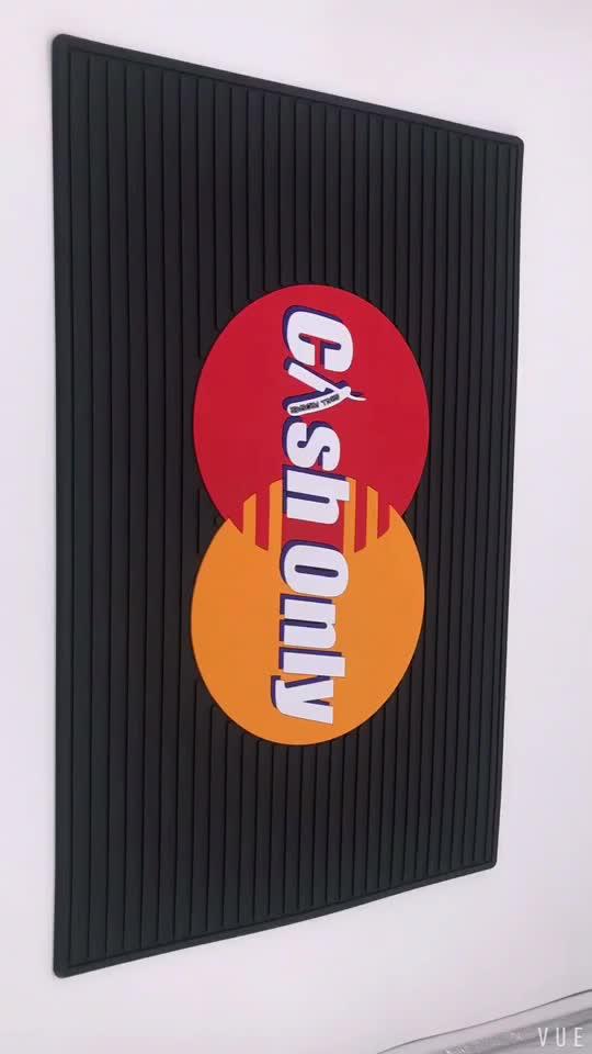 Logo personalizzato Negozio di Barbiere contatore tavolo stazione pvc barbiere tappetini in gomma