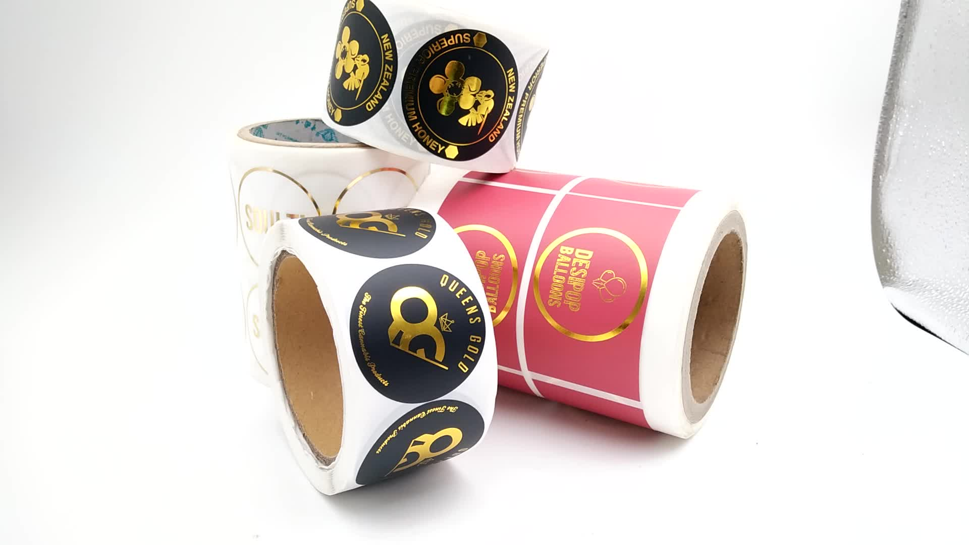Custom Adhesive Paper Gold Foil Hot Stamping Roll Color Printing Label