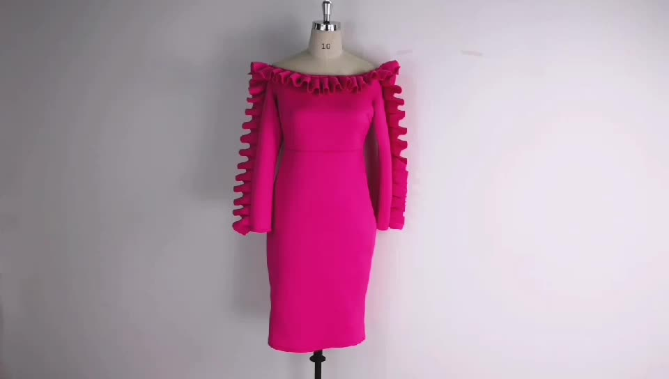 Ladies Sexy Off Shoulder Burgundy Dress Slim Fashion Package Hip Strapless Tube Ruffles Dresses Body con Club Wear Tunic Clothes