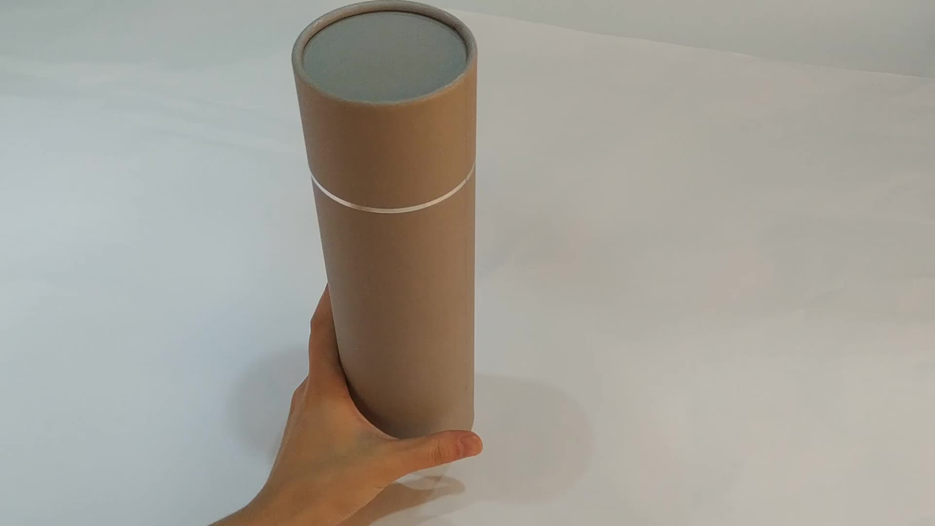 High Quality grey cardboard cylinder packaging box for T-shirt beanies and scarves