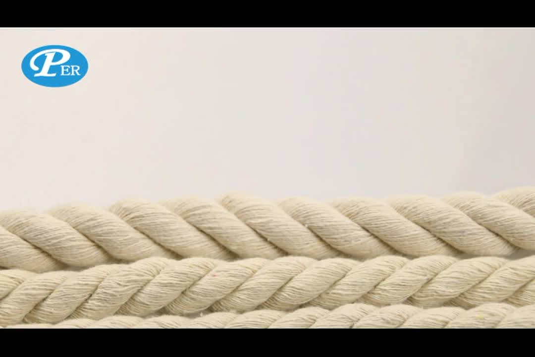 white 3-strand Twisted Cotton Rope With customized