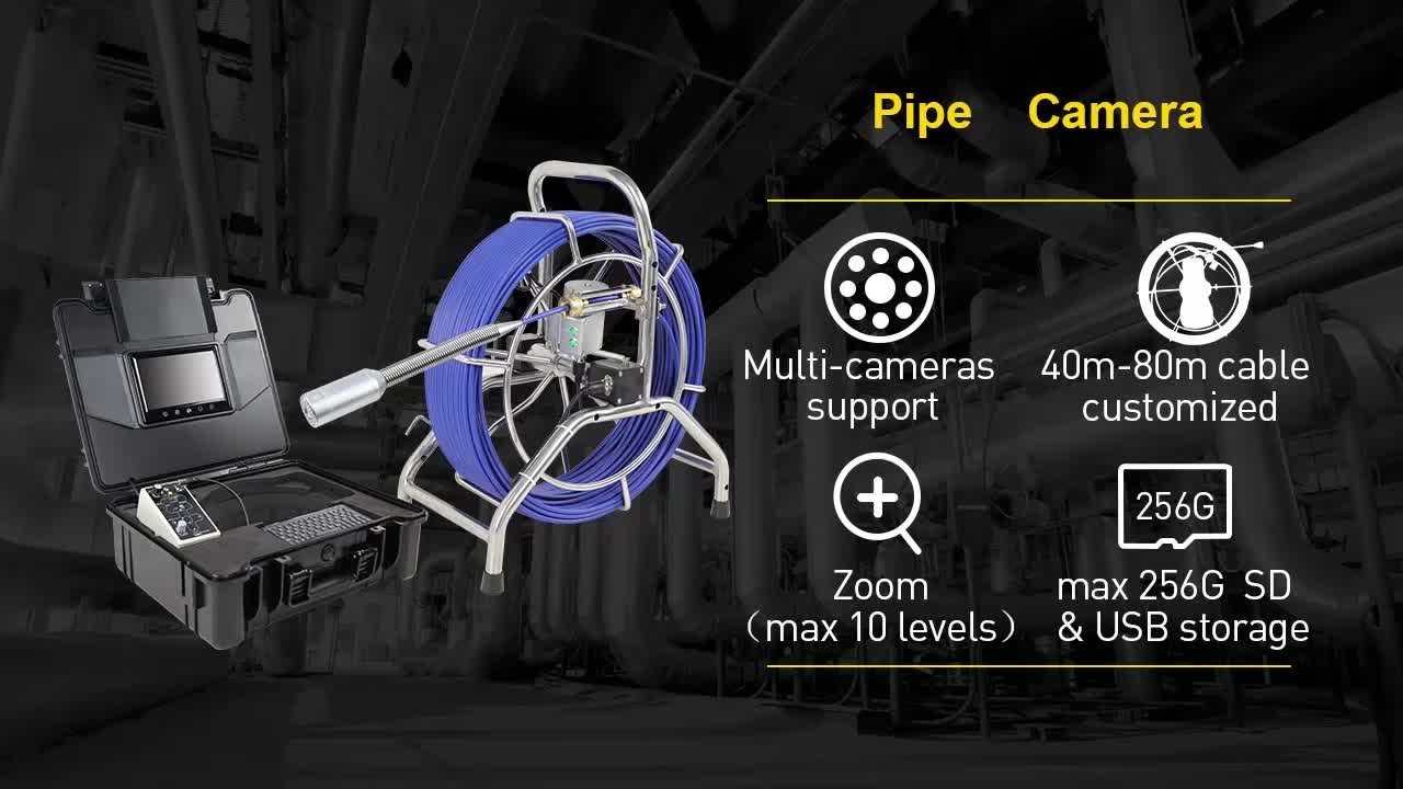 60M  China Durable Video Sewer Pipe Drain CCTV Drain Camera For Sale
