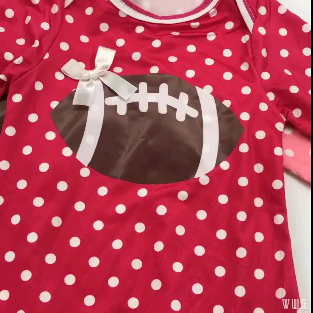 Bulk Wholesale Kids Clothing Long sleeve Green Polka Dot Football Baby Girl Ruffle Romper