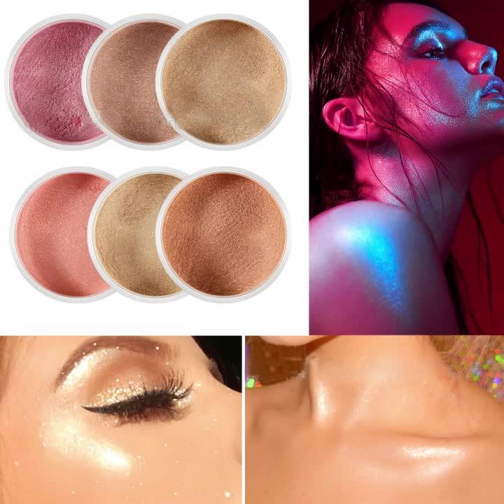 OEM factory 6 color custom logo wholesale glitter face makeup highlighter powder