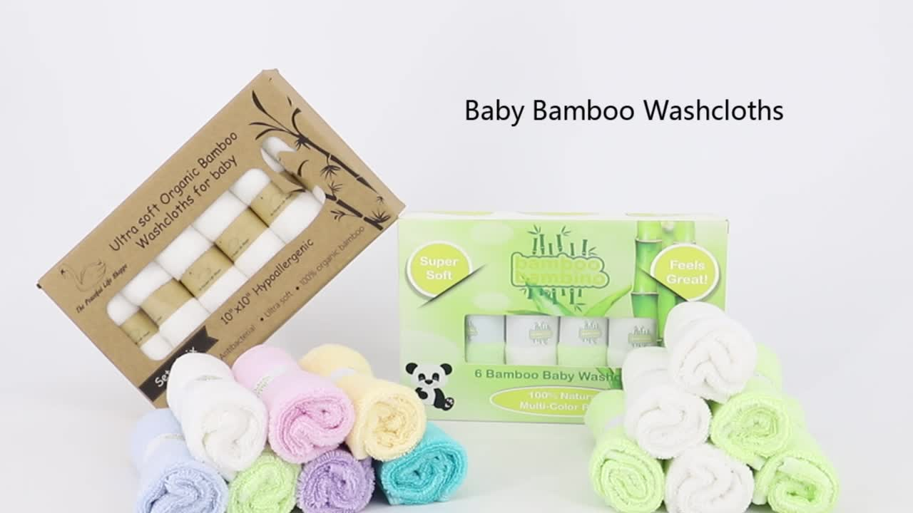 Customized gift package natural organic baby white bath towel bamboo baby washcloths