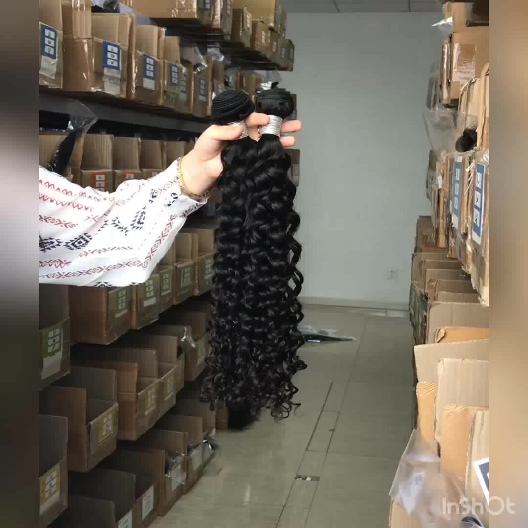 Free shipping Virgin cuticle aligned deep curly hair bundles