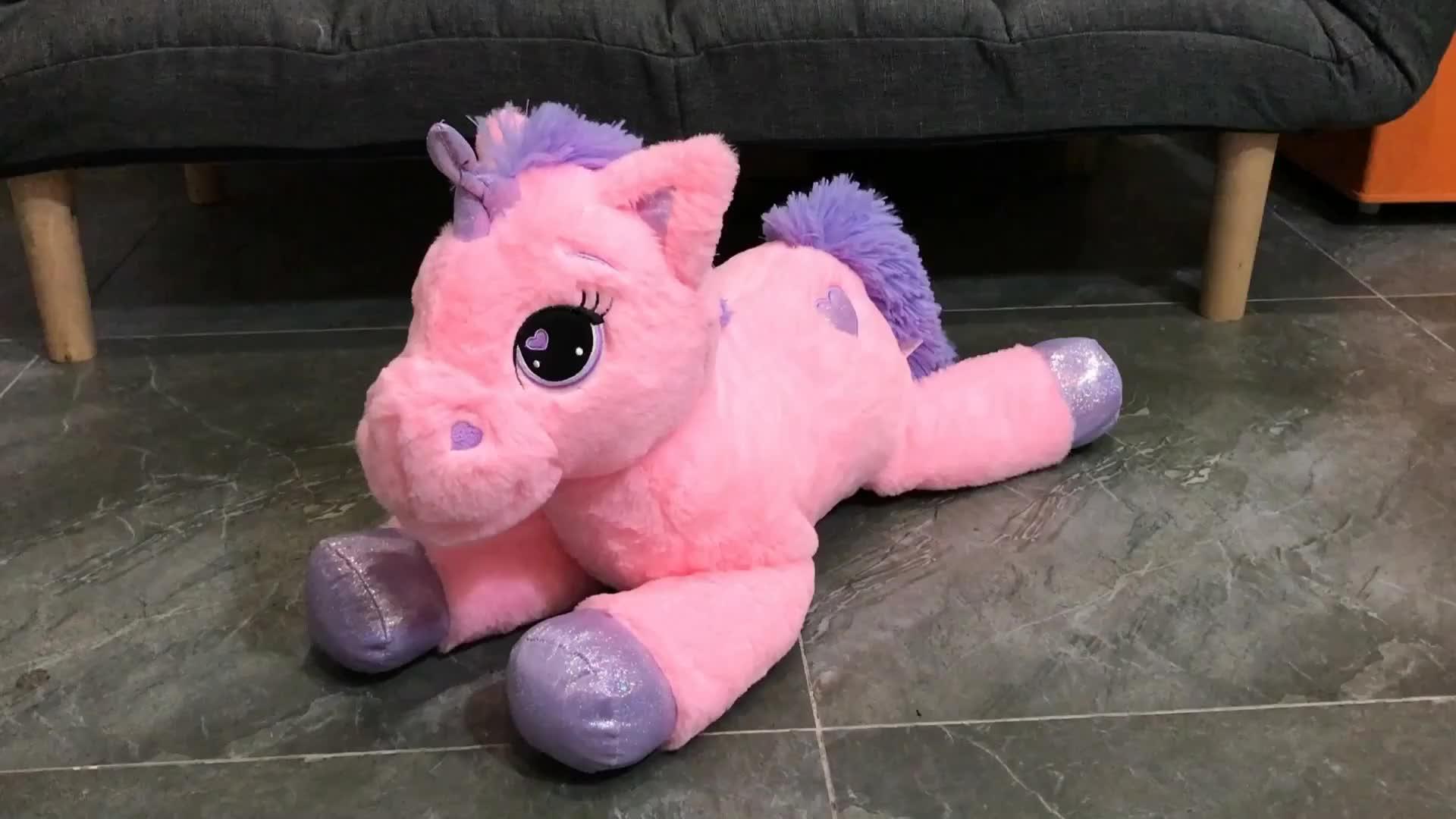 Blue unicorn plush pony รอบของเล่น