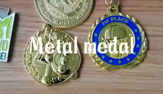 round gold embossed sport medals and trophys with lanyard