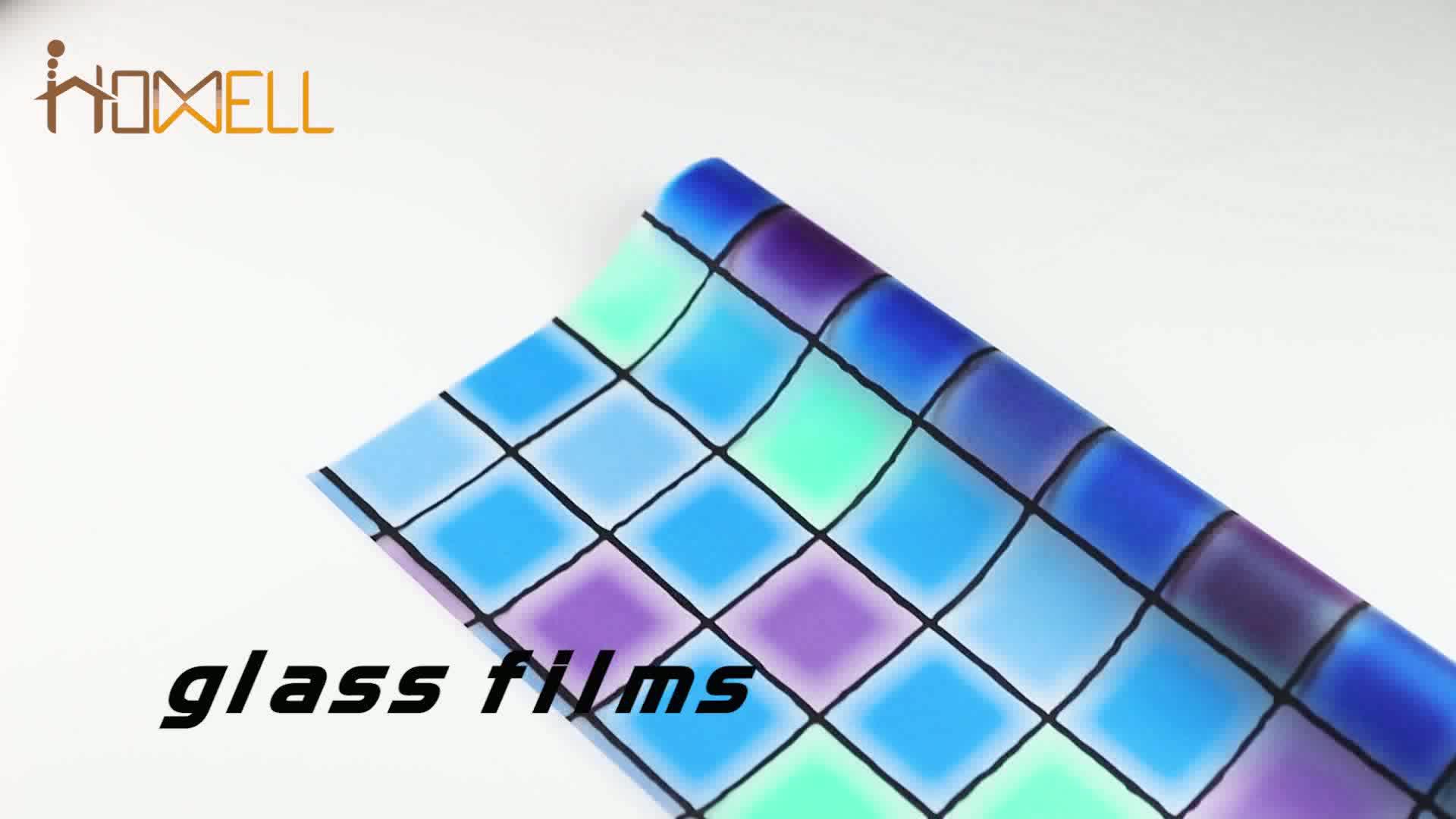 स्वयं चिपकने वाला स्थिर संरक्षण 3d उभरा प्रिंट ग्लास फिल्म के लिए घर सजावट