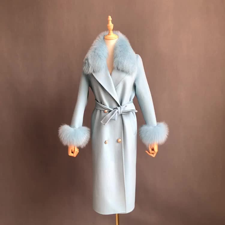 Winter Slim Cashmere Wool Coat With Real Fox Fur Collar Luxury Hand Made Womens Wool Coats and Jackets