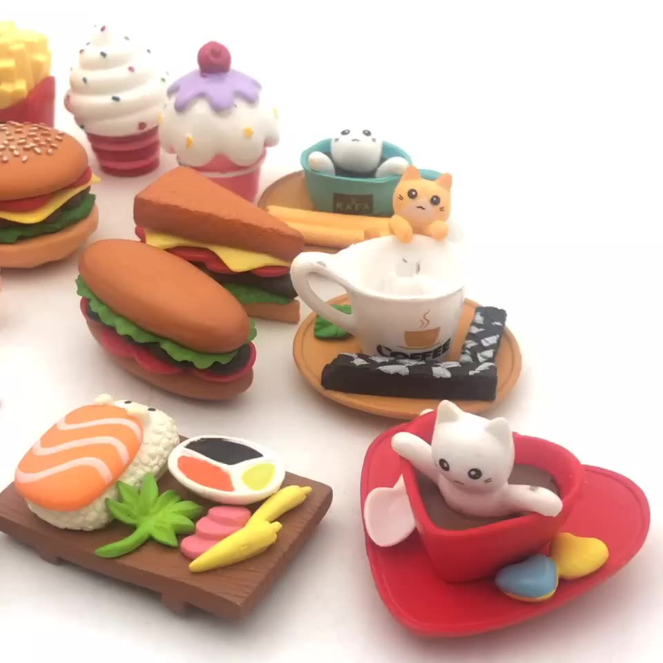 doll house fast-food French fries hamburger eggs  resin food charm miniature