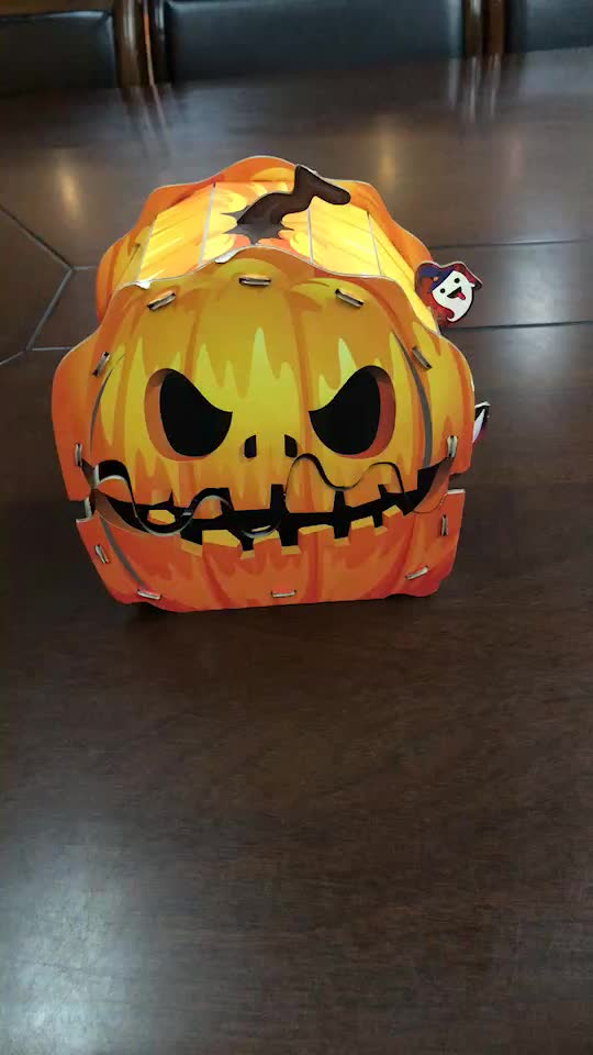 50 Piece of kids diy educational funny pumpkin lamp 3d paper puzzle light with instructions for Halloween