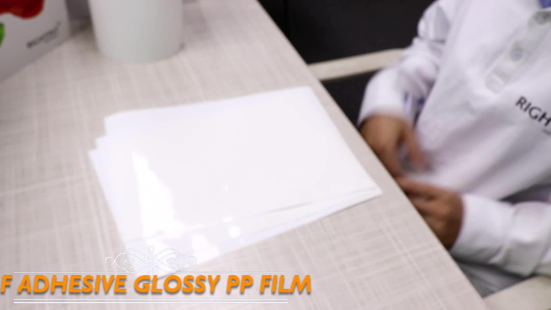 A4 boyut kendinden yapışkanlı etiket kağıt kendinden yapışkanlı parlak beyaz pp film