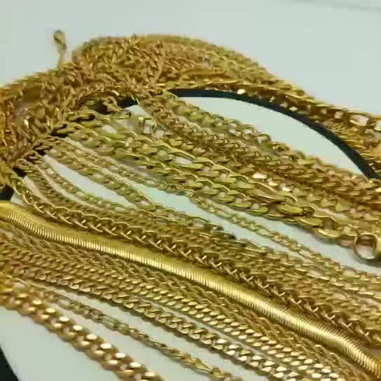 accessories  jewelry big thick 24k gold plated cuban link stainless steel chain necklace