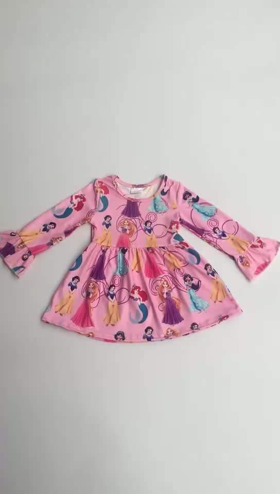 Hot sell  casual Cartoon Princess Dresses For Sweet Baby Teen Girls Wholesale