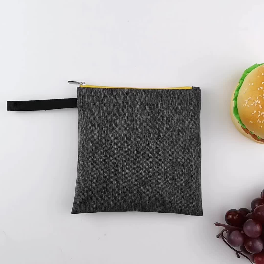 Promotion custom snack food bag handle zipper reusable sandwich bag