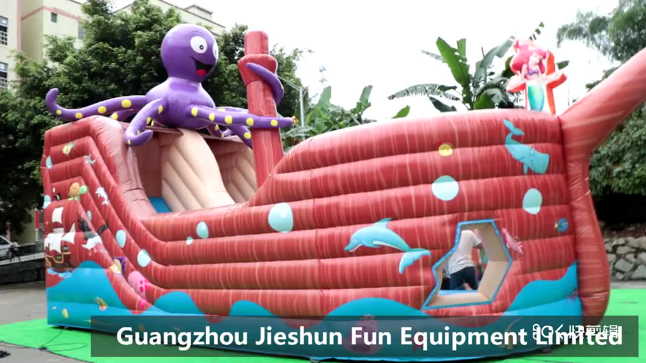 High Quality Customized Octopus Trampoline Castle Pirate Ship Inflatable Bouncer With Slide