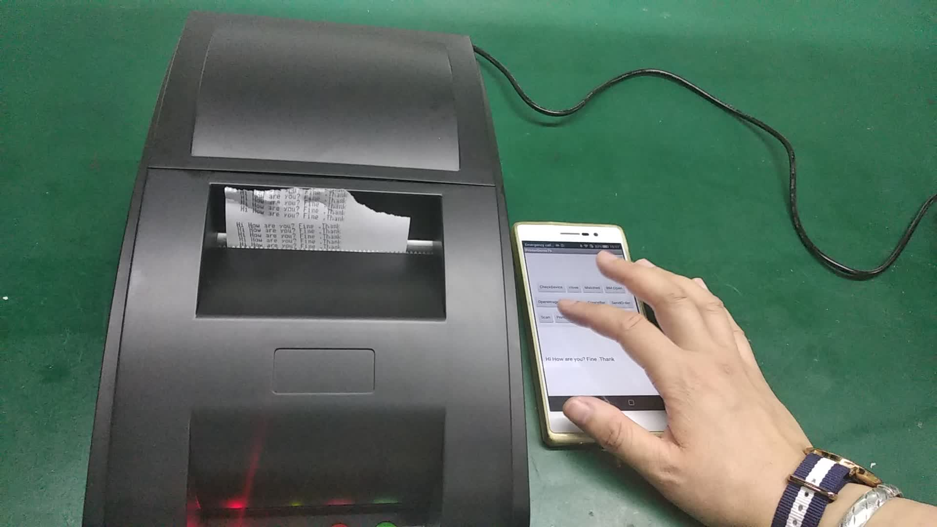 Desktop di QS 7601 76mm dot matrix bluetooth stampante di ricevute mobile di sostegno 127 dpi