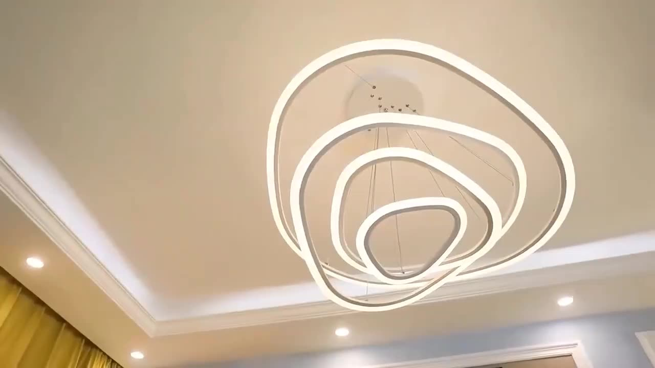 Modern lighting acrylic hanging ring home lighting dimmable chandelier