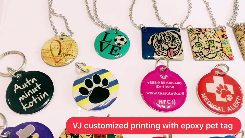 Personalized custom logo metal id qr code pet tag for dogs and cats