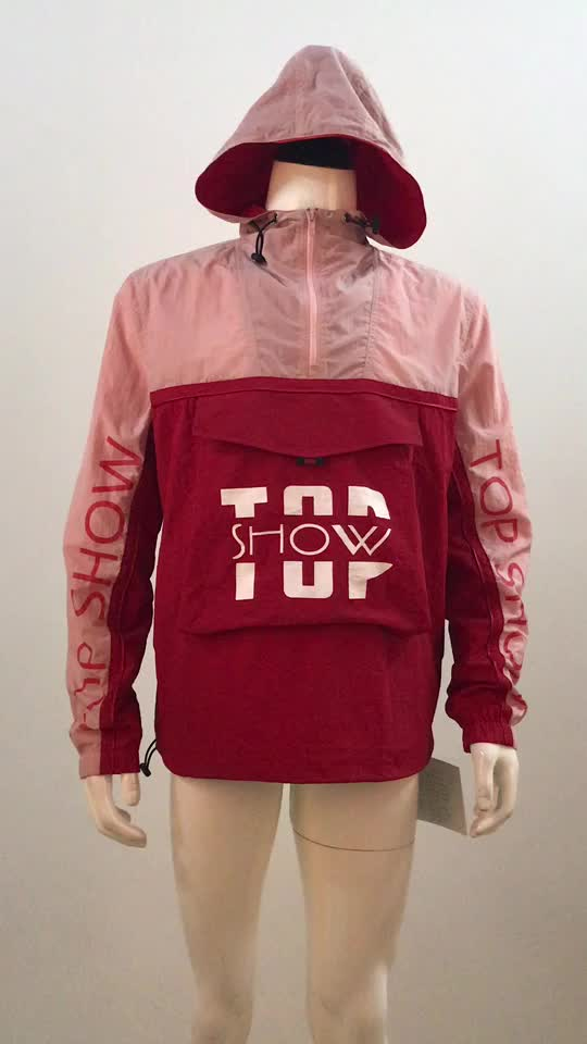 Custom logo colorblock nylon printed jacket wholesale windbreaker jackets