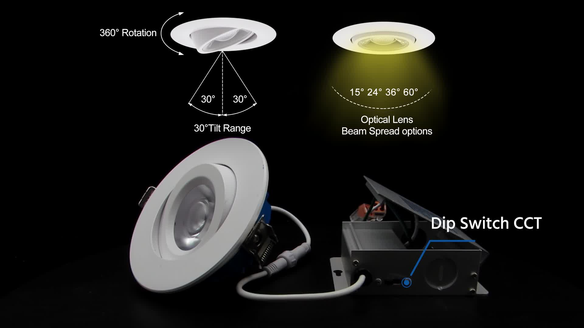 3inch 4 inch ETL listed Gimbal led downlight COB LED dimmable downlight with junction box