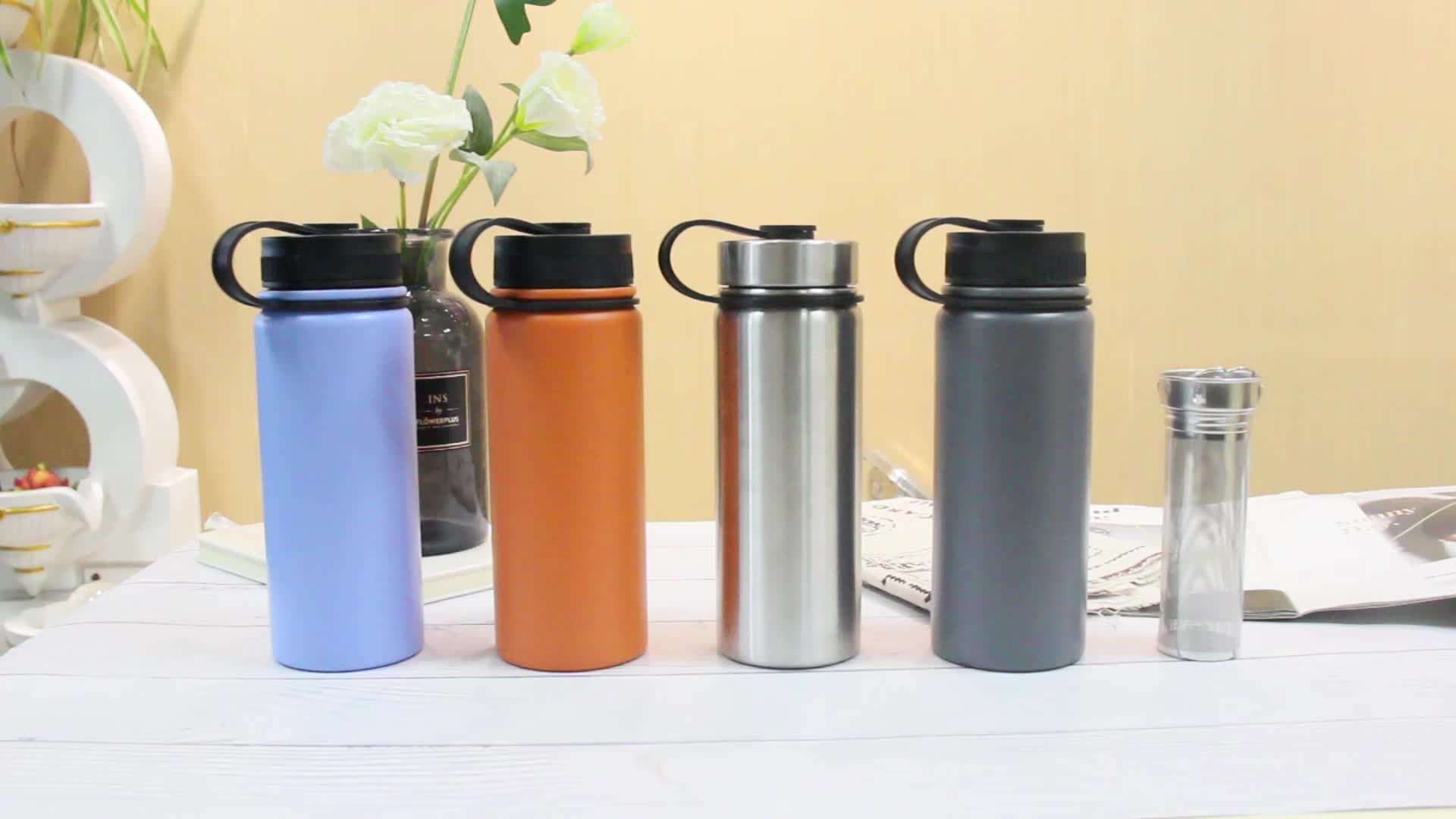 Outdoor Leak proof Sport Stainless Steel Vacuum Insulated Drink Bottle  With Tea Infuser and Tea Strainer