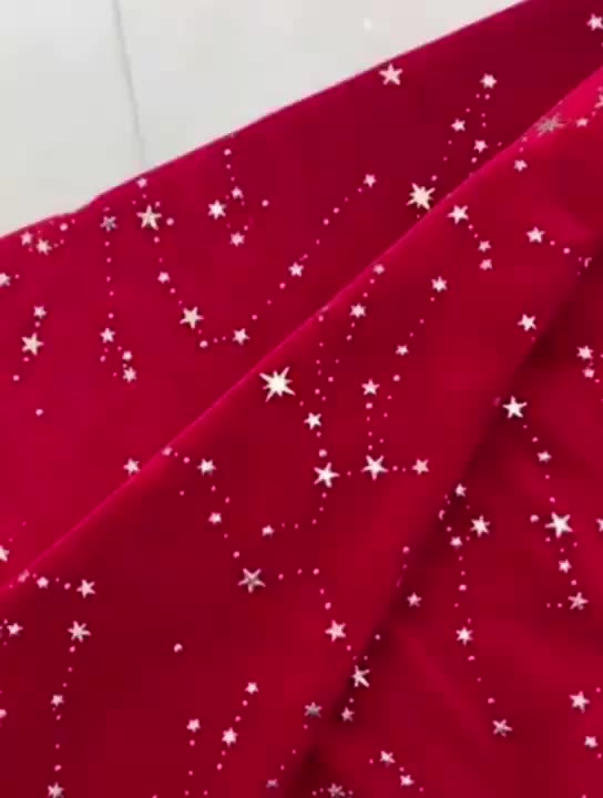 Star pattern hot stamping stretched warp knitting velvet fabric for festival
