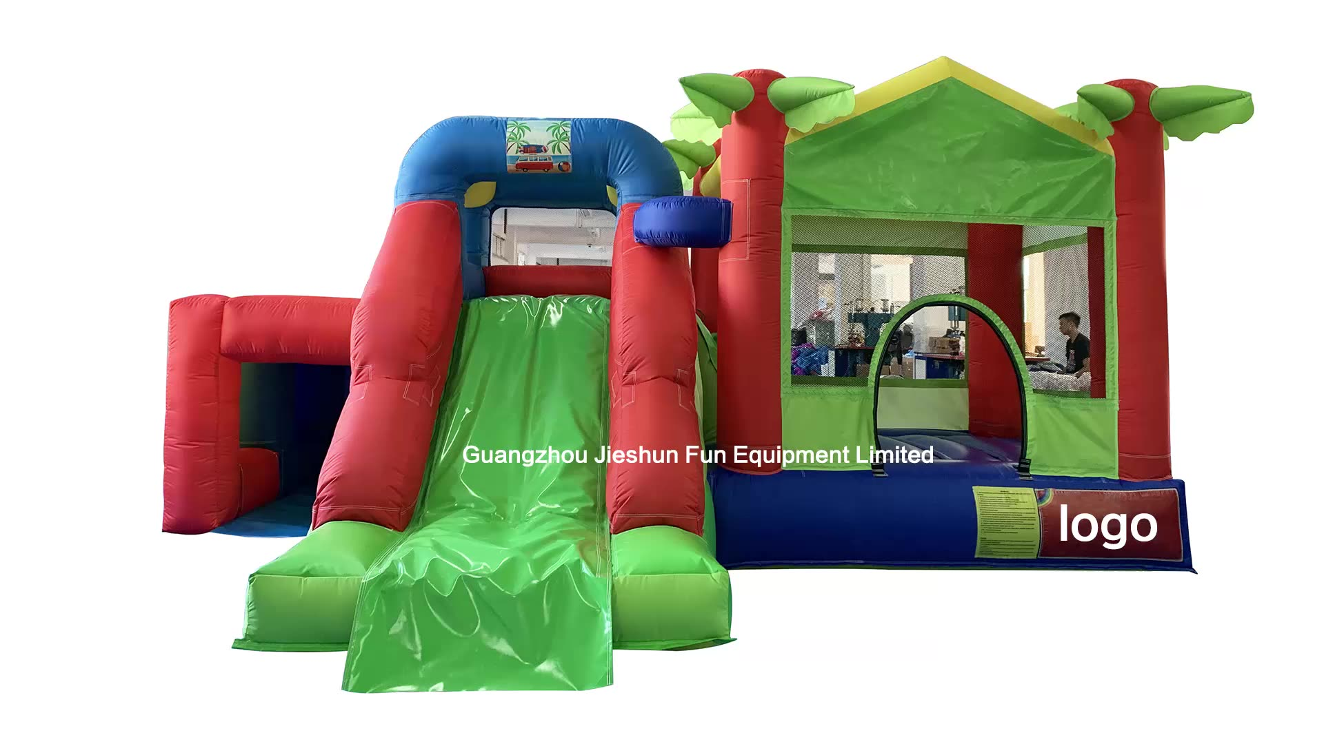 Commercial usage outdoor inflatable disco jumping bouncy inflatable castle combo slide for kids outdoor games