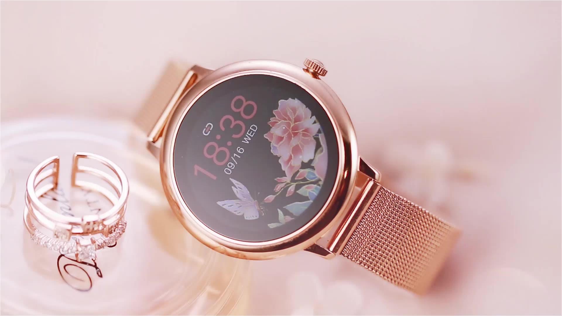 חדש CF80 חכם שעון עם IP67 Waterproof קצב לב לחץ דם צג גבירותיי חכם שעון, מתכת נשים ספורט Smartwatch
