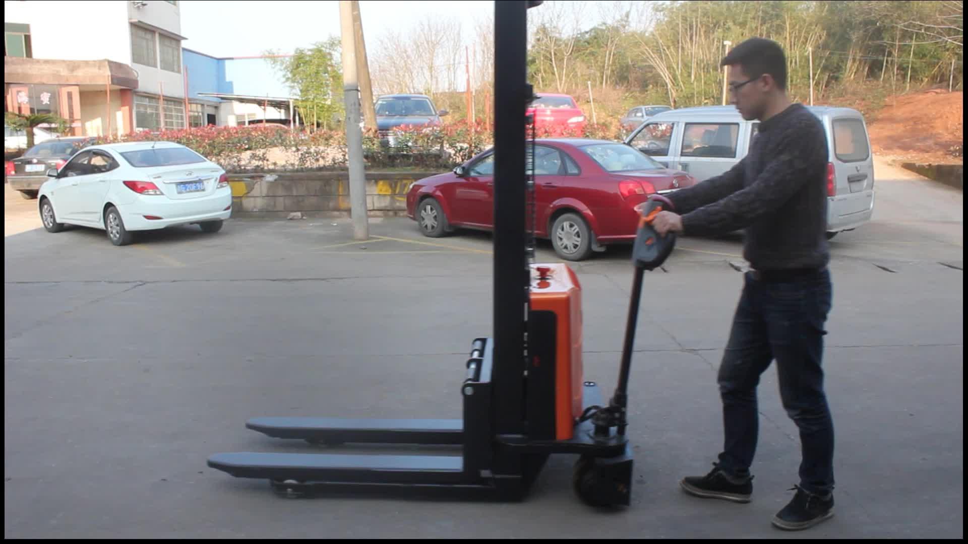 1500 kg ไฟฟ้า Self Loading Stacker Self Lift Pallet Stacker