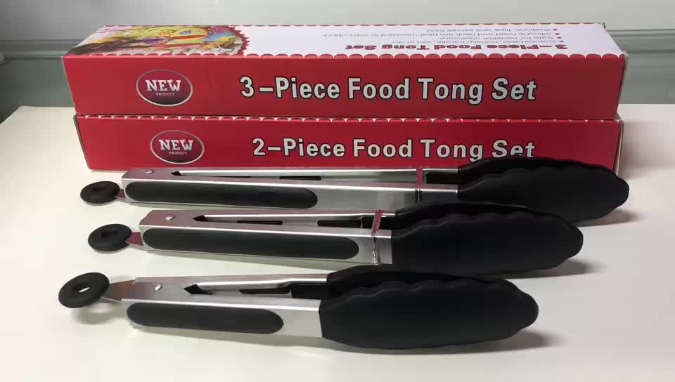 Heat Resistant Silicone Kitchen Cooking Tools Stainless Steel Locking Salad Tongs Silicone BBQ Tongs