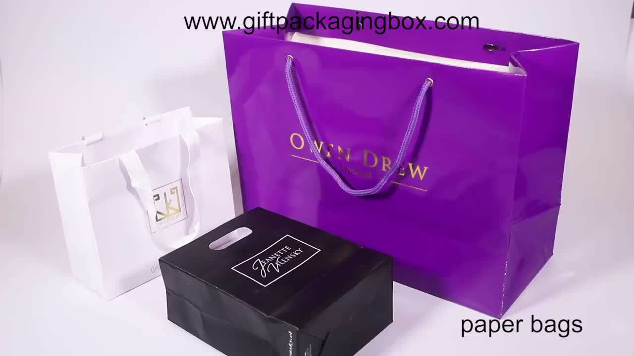 Wholesale Custom Printed Your Own Logo Gift Shopping Paper Bag With Customized Handles