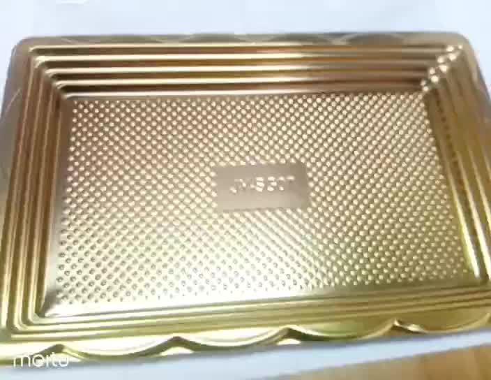 Plastic Rectangle Disposable Golden Sushi Container for Package and Take away with transparent lid