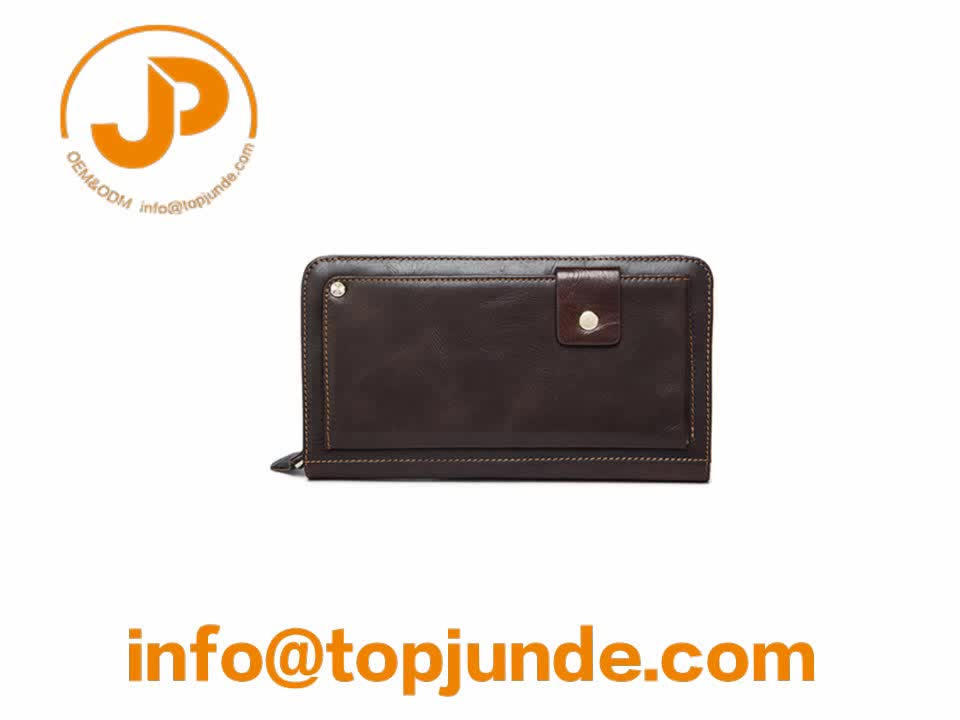 Hot Selling Latest Design Fashion Leather Woman Covered Button Wallet