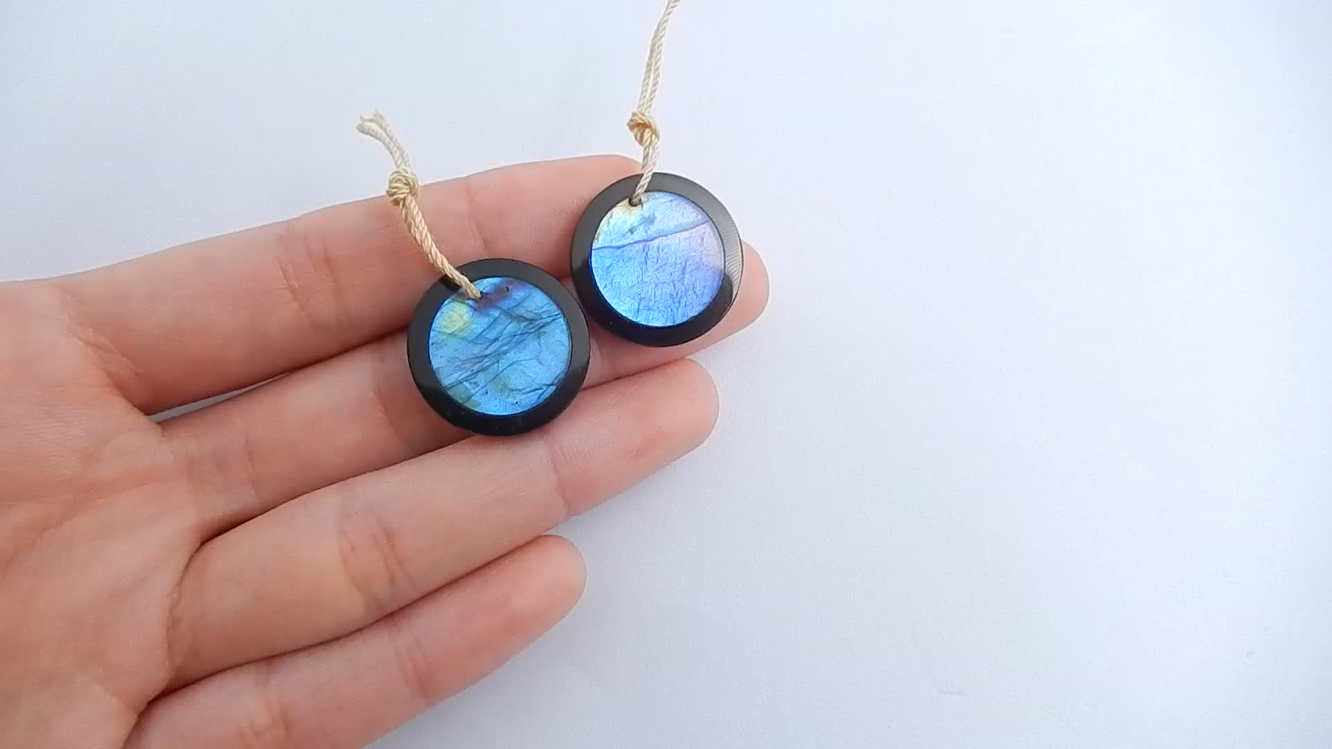 Custom Designed Earrings Fashion Jewelry Semiprecious Stones Labradorite Obsidian Natural Beads 32x13x4mm 6.1g