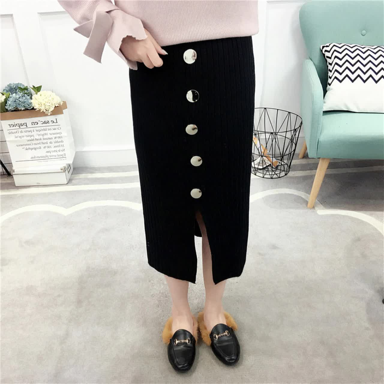 2019 new arrival winter front split five button knitted slim fit office lady woolen long skirt