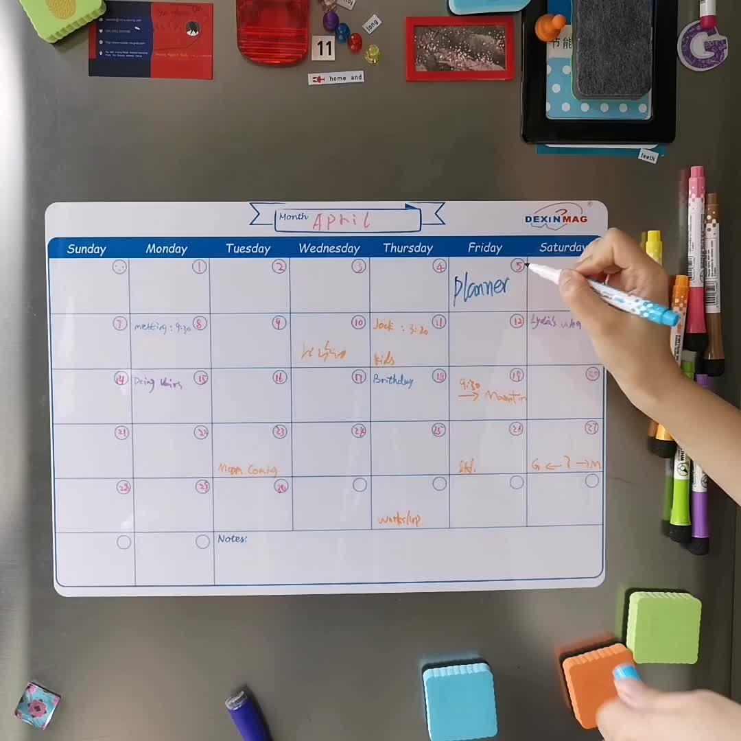 משפחה יבש למחוק מתכנן חודשי לוח מגנטי לוח שנה עבור מקרר