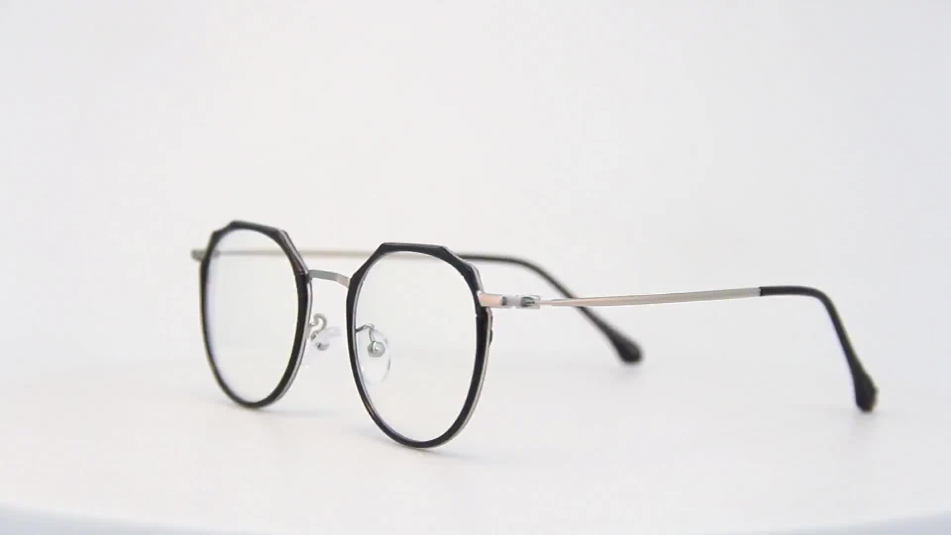 classic round plastic metal hinge optical glasses eyeglasses frames 2019