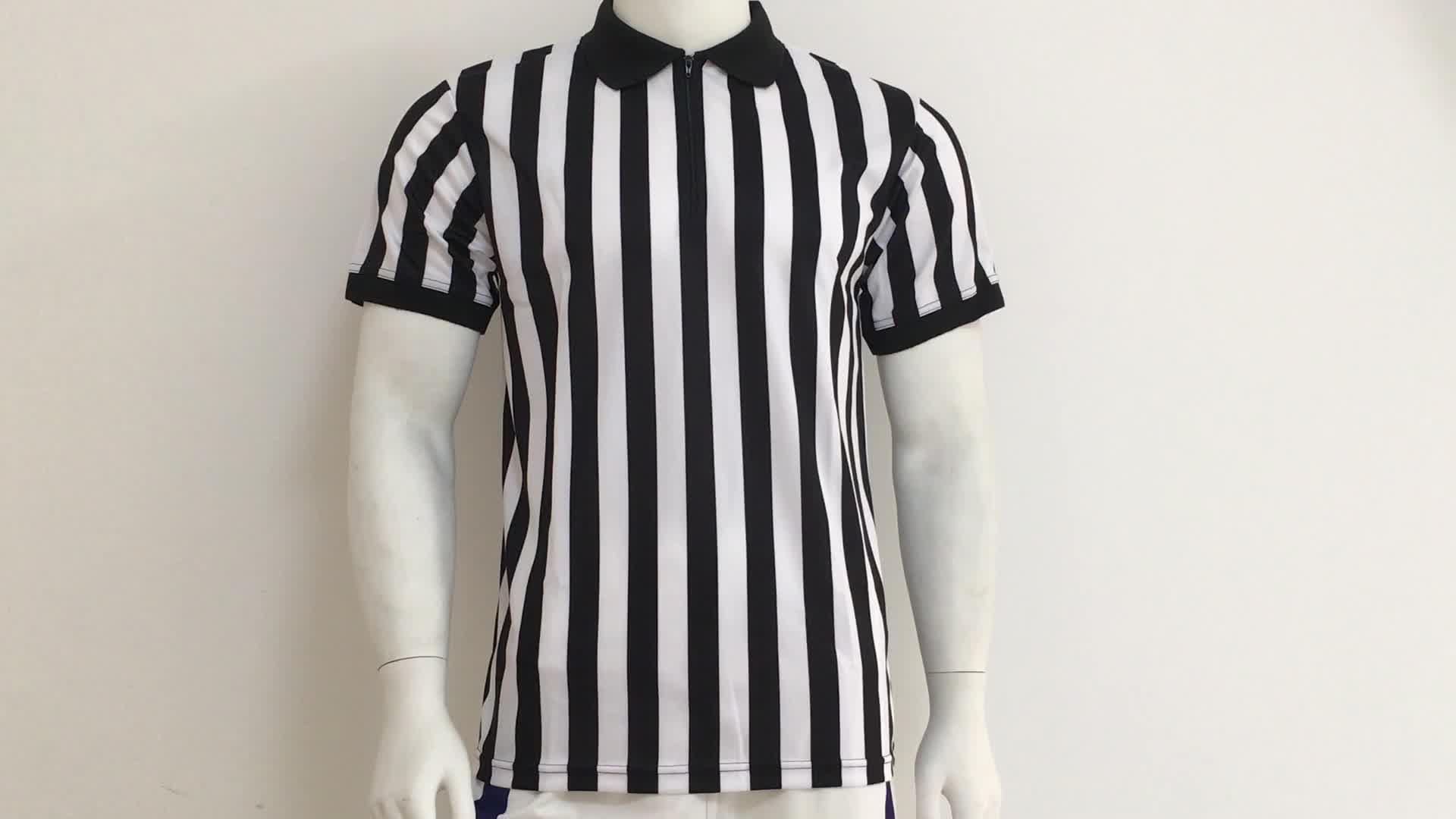 Atacado esportes dry fit preto listras brancas camisa árbitro